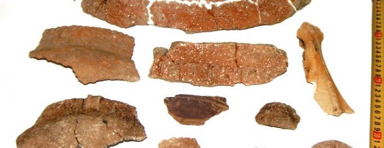 Фрагменти керамічного посуду, кістяне лощило трипільської культури. 1998 р.